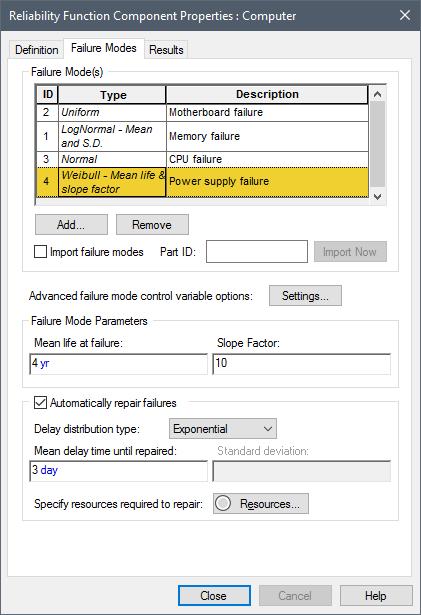 Adding Failure Modes to a Reliability Element